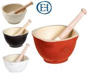 Emile Henry Ceramic Mortar & Pestle Grinder In Red, Black, White Or Cream