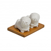 Cute & Small White Ceramic Pugs Cruet Set – Perfect Kitchen Decoration