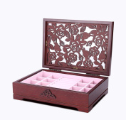 SHKY Wooden Jewellery Box Handcrafted with Floral Carvings ,Jewellery Storage Box Container Case.Gift for Christmas or Birthday ,Multi-colour optional