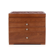 SHKY Wooden Retro Antique Flower Carved Wooden Jewellery Storage Box Container Case 3/4 Layers with 2/3 Drawers and Mirror
