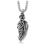 SanJiu Jewellery Stainless Steel Men Necklace Feather Pendant Gothic Biker Punk Rcoker Classic Pendant for Men Boys Silver