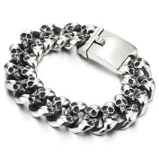 Biker Gothic Skull Link Stainless Steel Bracelet for Men 22cm Vintage Old Metal Finishing