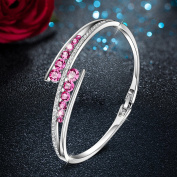 "Valentines Gift - Menton Ezil ""Love Encounter"" Element Crystal Women Bracelets White Gold Silver Bangle Adjustable Hinged Womens Jewellery Gifts"