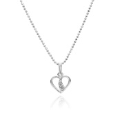 butterfly Necklace for girls, 925 sterling silver, Elements, heart pendant, 36-39 cm