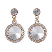 Round satellite stone glass alloy Earrings
