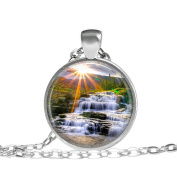 , Mountain Sunlight necklace, Nature Camping Pendant Mountain Necklace