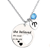 Ensianth She Believed She Could So She Did Necklace Gift For Women girl, Inspirational Necklace