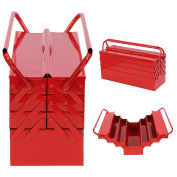 Extra Large Red Metal Storage Cantilever Toolbox Organiser 4 Tier 7 Tray 530mm