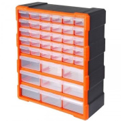 Tactix Plastic Black Orange Parts Components 39 Drawer Storage Cabinet