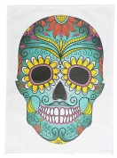 Day Of The Dead Large Coloured Skull Cotton Tea Towel By Half A Donkey