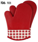 Jonhen Silicone Heat Resistance Oven Gloves With Cotton Lining Pot Holders Red