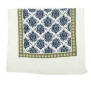 Tasselled Damask Blue White Green 100% Cotton Kitchen Tea Towel 40cm X 60cm
