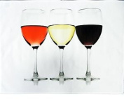 Happy Hour Wine Glass - Large Cotton Tea Towel By Half A Donkey