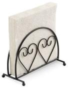 Ambiente Hearts Upright Napkin Serviette Holder Rack Storage Black Dining