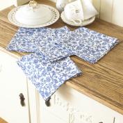 William Morris Merton Blue 4 Floral Cotton Napkins