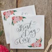 Best Day Ever Paper Napkin Serviettes Floral Paper Napkins X20 Wedding Party