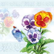 20 Ambiente 3 Ply Paper Napkins Serviettes Aquarell Pansy Flower Lunch Table