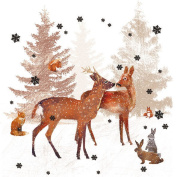 Ambiente 3 Ply Paper Lunch Napkins Serviettes Woodland Deer Scene Christmas Xmas