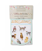 Insulated 100% Cotton Double Oven Gloves By Cooksmart Cats On Parade