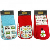 Double Padded Cotton Insulated Kitchen Oven Cooking Baking Gloves Mitts Mittens