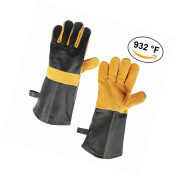 Ozero Barbecue Leather Gloves, 932°f Extreme Heat Resistant Gloves With 14.