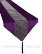 Purple & Silver Diamante Sparkle Velvet Table Runner Tasselled 33cm X 180cm