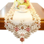 Embroidered Flowers Table Runner 200cm 80 Inch Approx Vintage Table Runners