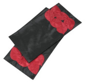 Black & Hot Chilli Red Tropical Leaves Table Runner Dining Table Decor