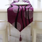 Modern Bronzing Plush Fabrics Purple Stripe Table Runner 180cm Approx
