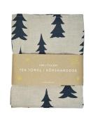 Scandinavian Swedish Modern Organic Cotton Retro Gran Fir Trees Tea Towel - Blue