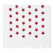 Stars Red White Fringed 100% Cotton Tea Towel 40×60cm