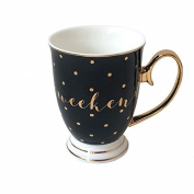 Weekend Mug Black With Gold Spots