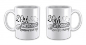 Pair of Wedding Anniversary (20th China) - Two Hearts Novelty Gift Mugs
