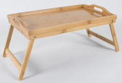 Bamboo breakfast serving tray with folding legs and handles,platter, lap table - 50x30x25