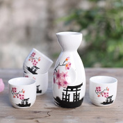 5 Piece Japanese Sake Cup Set Hand Painted Cherry Blossoms Flower Design Porcelain Pottery Ceramic Crafts Wine Cups