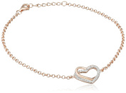 Goldmaid Women's 925 Sterling Silver Heart Bracelet red gold-plated with Cubic Zirconia
