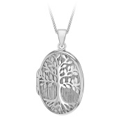 Tuscany Silver Sterling Silver Rhodium Plated 'Tree of Life' Locket Pendant on a Chain of Length 46cm