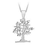 Tuscany Silver Sterling Silver Rhodium Plated Cubic Zirconia 'Tree of Life' Pendant Necklace 8.48.8354