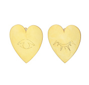 Vanina Women's 18ct Yellow Gold Plated Blinking Hearts Stud Earrings