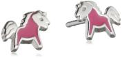 Xaana Children's Kids Favourite Pony Stud Earrings Rhodium-Plated 925 Silver – AMZ0444