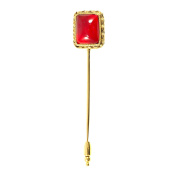 Gripoix Paris Women's Gold Plated Brass Red Pompon Square Shape Pin