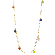 Gripoix Paris Women's Gold Plated Brass Multicolour Hearts Round White Pearls Long Chain Necklace of Length 50cm