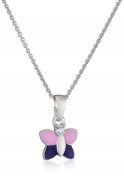 Xaana Children's Necklace with Pendant 925 Silver Rhodium Plated Round Cut White CZ Butterfly Kids Favourite 38cm – AMZ0447