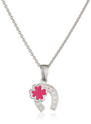 Xaana Children's Necklace with Pendant Kids Favourite Horseshoe Shamrock 925 silver rhodium plated 38 cm – AMZ0454