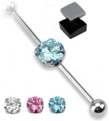 ~ Gift Boxed ~ Industrial Scaffold Piercing Bar Round Gem centre 38mm barbell in Pink ~ Blue ~ Clear