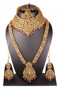 Indian Bollywood Style Gold Plated Stone Indian Necklace Earrings Bridal Set Jewellery