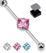 ~ Gift Boxed ~ Industrial Scaffold Piercing Bar Square Gem centre 38mm barbell in Pink ~ Blue ~ Clear