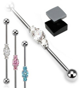 ~ Gift Boxed ~ Industrial Scaffold Piercing Bar 3 Gems cluster centre 38mm barbell in Pink ~ Blue ~ Clear