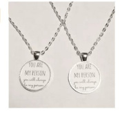 2 Necklaces You Are My Person Quote Best Friends BFF Necklace Set