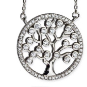 """'LuxXL """"Tree of Life by Real Silver Necklace with Cubic Zirconia"""